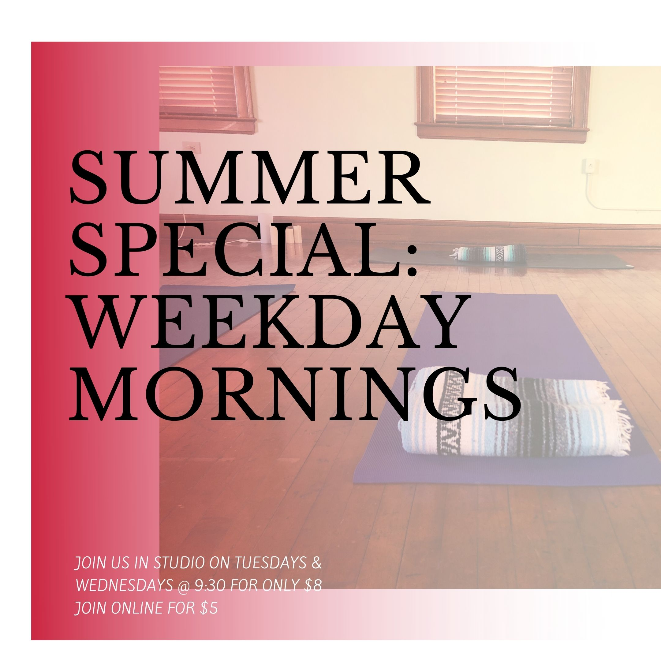 End of Summer Special – Try our weekday morning classes for only $8 in studio!