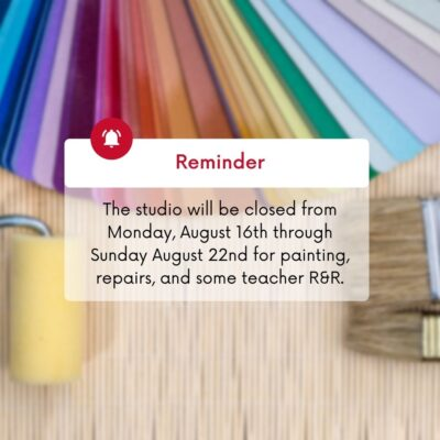 Studio Closed August 16th – 22nd